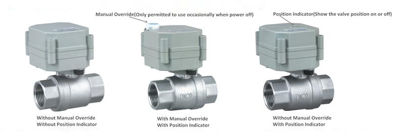 What is manual override for motorized ball valves for Motorized flow control valve