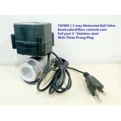 2 way Stainless steel full port motorized ball valve with three prong plug