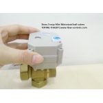 3 way Brass T port Motorized ball valve with manual override